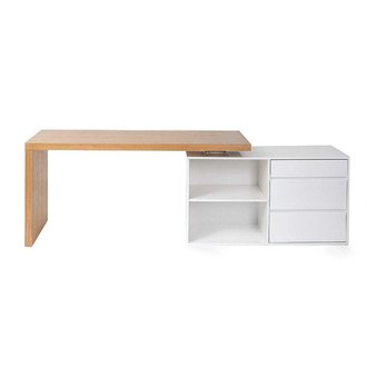 Bureau design modulable blanc brillant et frêne NEW MAX