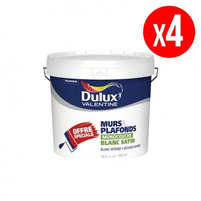 Lot de 4 pots de peinture Série Spéciale - murs & plafonds - monocouche satin - blanc - 6 x 10 L