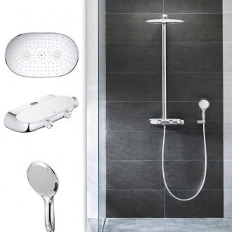 Colonne thermostatique RAINSHOWER SmartControl 360 - tête 36 x 22 cm + douchette 2 jets