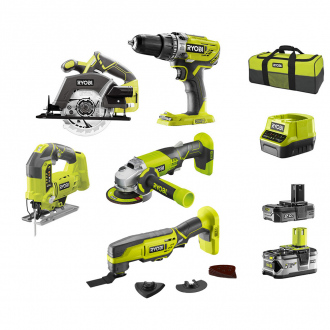 Pack combo RYOBI 18V : 5 machines - 2 bat Li-Ion 2Ah et 4Ah + chargeur & sac de transport