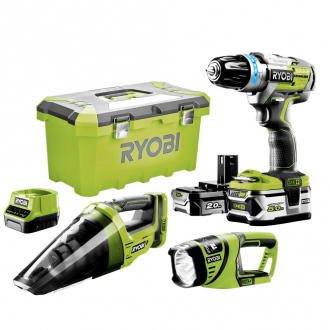 Perceuse à percussion RYOBI 18V ONE+ BRUSHLESS + aspirateur + lampe torche - 2 bat Li-Ion 5&2 Ah + chargeur + Toolbox