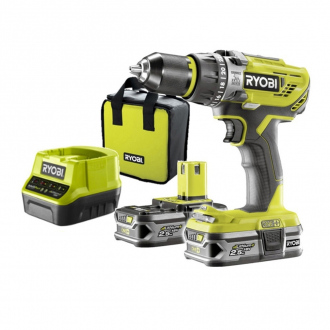 Perceuse à percussion RYOBI 18V - 50Nm - 2 bat Li-Ion 2.5 Ah - 1800 tr/min + chargeur & sac de  transport