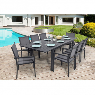 Ensemble repas extensible PALERMO 8 places - 171/242 x 100 cm - aluminium - anthracite