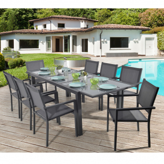Ensemble repas extensible LIVORNO - 8 places - 180/240 x 90 cm - aluminium - anthracite