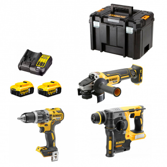Pack BRUSHLESS 18V DEWALT : 3 machines - 2 bat Li-Ion 5Ah - coffret TStak VI + chargeur