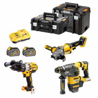 Pack 18/54V BRUSHLESS : Perforateur + meuleuse + perceuse à percussion - 2 bat Li-Ion 6Ah + chargeur & 2 TSTAK