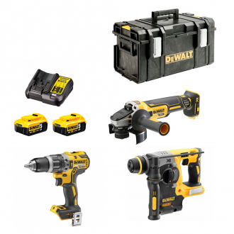 Pack 18V BRUSHLESS DEWALT : Perceuse à percussion + perforateur SDS-Plus + meuleuse - 2 bat Li-Ion 5Ah + coffret + chargeur