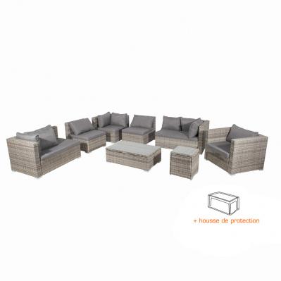 Salon De Jardin Santorini 8 Puestos Con Funda Aluminio Resina