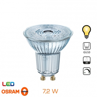 Spot LED OSRAM - GU10 - 7,2W - Blanc chaud - Dimmable