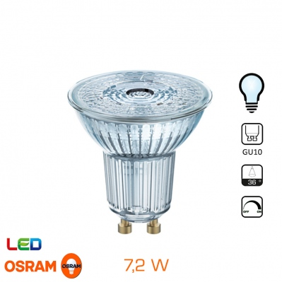 Spot LED OSRAM - GU10 - 7,2W - Blanc froid - Dimmable - 4052899390232 - 4052899390232