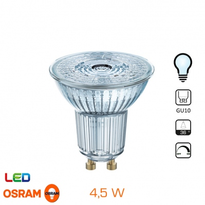 Spot LED OSRAM - GU10 - 4,5W - Blanc froid - Dimmable - 4052899390195 - 4052899390195