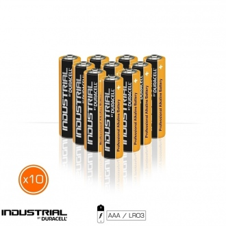 Pack de 10 piles alcalines DURACELL INDUSTRIAL AAA LR03