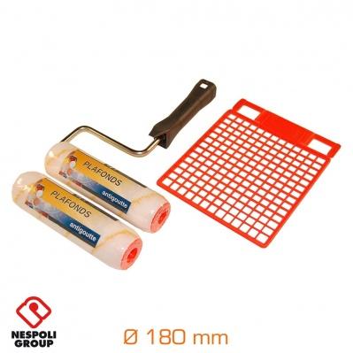 Pack rouleau, manchon & grille - anti-goutte - Ø180 mm- spécial plafonds