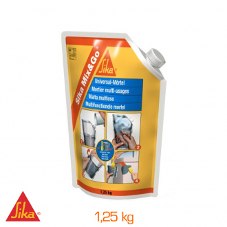 Mortier de réparation Sika Mix & Go - 1,25kg - gris