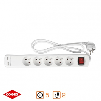 Base múltiple - 5 enchufes con interruptor - 2 salidas USB
