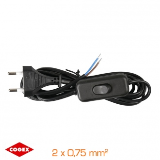 Cable 2 m + enchufe + interruptor 2x0,75mm² - negro
