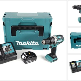 Makita DHP 484 RT1J 18V Brushless Li-Ion Perceuse visseuse à percussion sans fil avec boîtier Makpac + 1x Batterie BL 1850 5,0