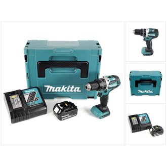 Makita DHP 484 RM1J 18V Brushless Li-Ion Perceuse visseuse à percussion sans fil avec boîtier Makpac + 1x Batterie BL 1840 4,0