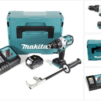 Makita DHP 481 RT1J Brushless Perceuse à Percussion sans fil 115 Nm + Boîtier MAKPAC + 1x Batterie 5Ah Li-Ion + Chargeur DC18 RC