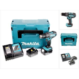 Makita DHP 482 RTJ - 18 V Li-Ion Perceuse visseuse à percussion sans fil avec coffret Makpac + 2x Batteries BL 1850 5,0 Ah +