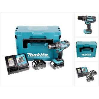 Makita DHP 482 RMJ - 18 V Li-Ion Perceuse visseuse à percussion sans fil avec coffret Makpac + 2x Batteries BL 1840 4,0 Ah +