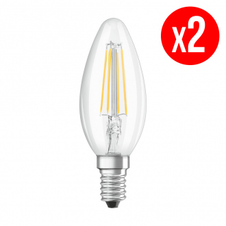 Lot de 2 ampoules LED Flamme clair filament 4W : 40 E14 froid