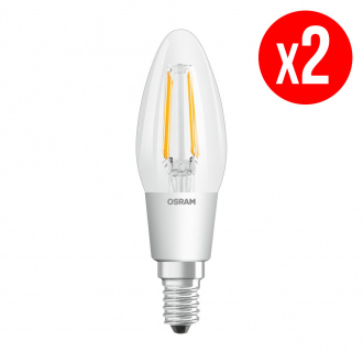 Lot de 2 ampoules LED Flamme clair filament variable 4,5W : 40 E14 chaud