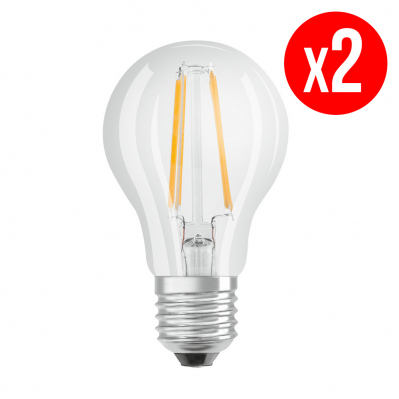 Lot de 2 ampoules LED Standard clair filament 7W : 60 E27 froid - 4058075112308*2 -