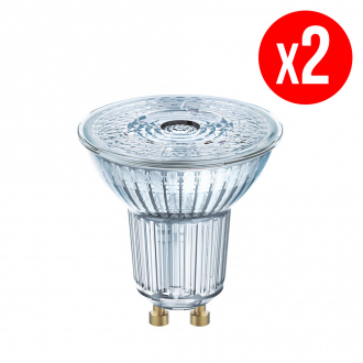 Lot de 2 spots PAR16 LED 36° verre 4,3W : 50 GU10 chaud