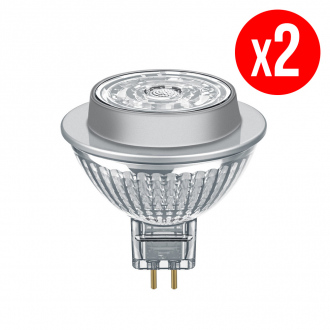 Lot de 2 spots MR16 LED 36° verre 7,2W : 50 GU5.3 chaud
