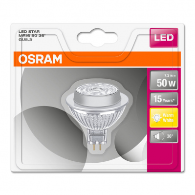Lot de 2 spots MR16 LED 36° verre 7,2W : 50 GU5.3 chaud - 4052899957794*2 -