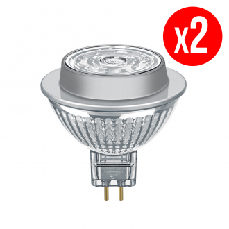 Lot de 2 spots MR16 LED 36° verre variable 7,8W : 50 GU5.3 chaud