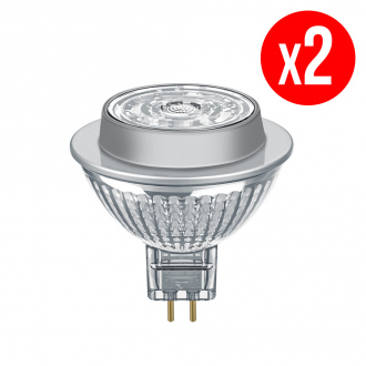 Lot de 2 spots MR16 LED 36° verre variable 7,8W : 50 GU5.3 froid
