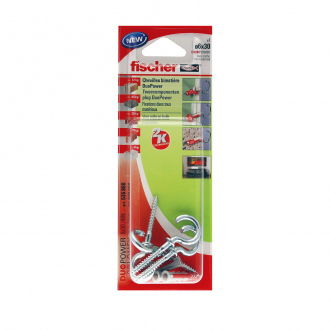 Blister de 4 chevilles DUOPOWER + vis + crochets ronds - Ø 6 x 30 mm