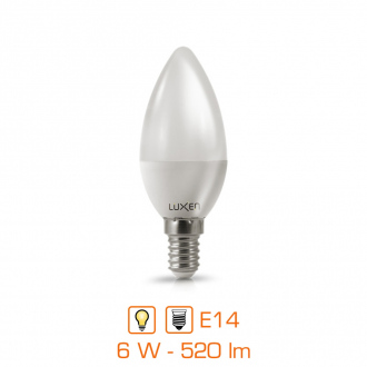 Ampoule LED bougie - E14 - 6W - 520lm - blanc chaud