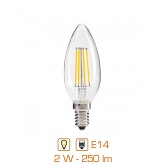 Ampoule LED bougie filament - E14 - 2W - 250lm - blanc chaud