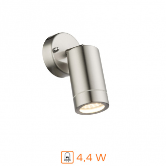 Applique murale LED - 4,4W - 16,9 cm - inox