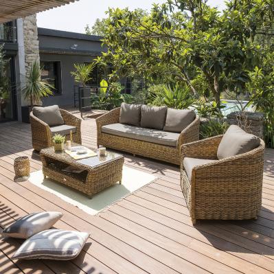 Salon De Jardin Havana 5 Places Resine Tressee Miel Brico Prive