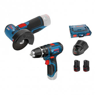 Pack 12V BOSCH : Perceuse à percussion + meuleuse - 2 bat Li-Ion 2,5Ah + chargeur & coffret L-Boxx