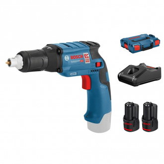 Visseuse plaquiste BRUSHLESS BOSCH 12V - 2 bat Li-Ion 2Ah + chargeur + L-Boxx