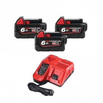 Pack MILWAUKEE 18V : 3 batteries Li-Ion 6Ah + chargeur