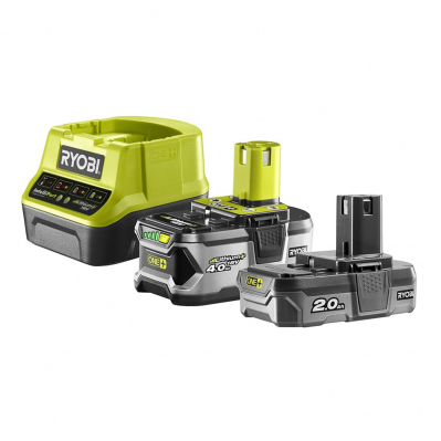 Pack de 2 batteries Ryobi 18V One +-Li-Ion2Ah & 4 Ah + chargeur rapide - RC18120-242 - 4892210152190