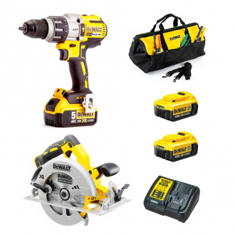 Pack DEWALT : perceuse à percussion + scie circulaire - 2 bat Li-Ion 4Ah + chargeur + sac de transport