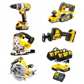 Pack DEWALT : 5 machines -2 bat Li-Ion 4,0 Ah + chargeur + sacs de transport