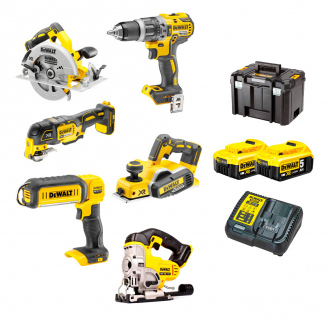 Pack DEWALT : 6 machines -2 bat Li-Ion 5 Ah + chargeur + sacs de transport