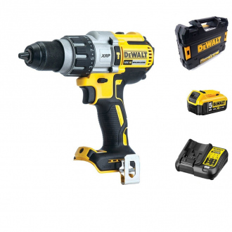 Perceuse à percussion 18V BRUSHLESS DEWALT - 95Nm - 1bat Li-Ion 5Ah + chargeur + coffret TSTAK II