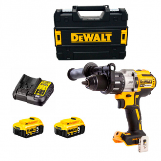 Perceuse à percussion 18V BRUSHLESS DEWALT - 95Nm - 2bat Li-Ion 5Ah + chargeur + coffret TSTAK II