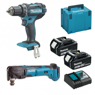 Pack 18V MAKITA : perceuse-visseuse + multitool - 2 bat Li-Ion 5Ah + chargeur & coffret