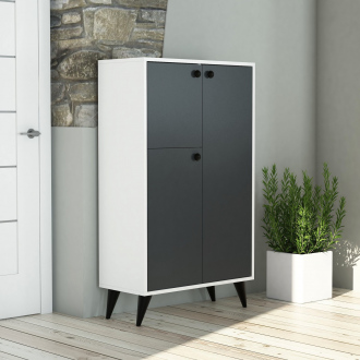 Armoire Gordion - 74,4 x 127 x 35 cm - blanc & gris