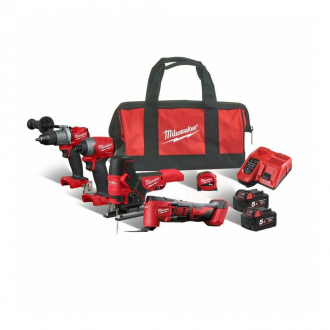 Pack 4 machines MILWAUKEE 18V - 2 bat Li-Ion 5Ah + chargeur + sac de transport